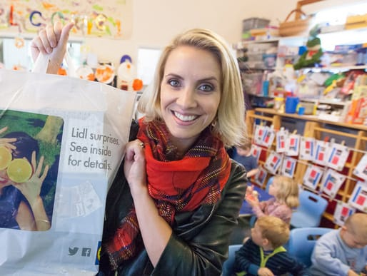 Claire Richards with a #lidlsurprise for local children