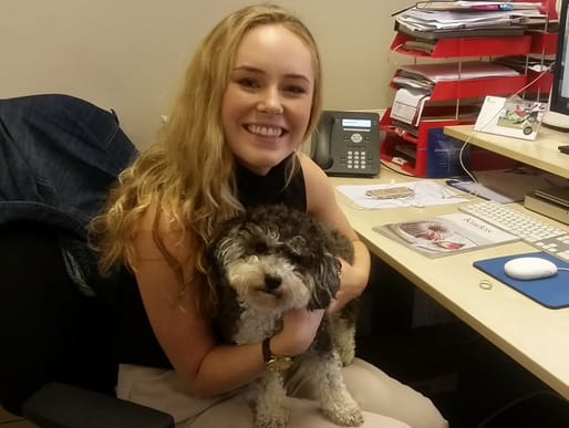 Student Olivia with Alice, her favourite member of the team