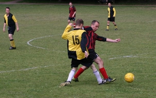 Still got it: Andy Rayfield playing in a charity football match